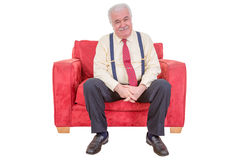 Senior white haired man relaxing Stock Photo