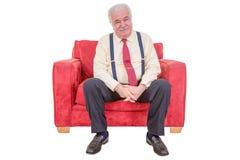 Senior white haired man relaxing Stock Photo