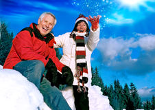 Senior winter fun 2 Stock Images