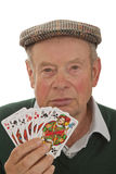 Senior With Playing Cards Stock Image