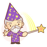 Senior Wizard mascot practice the black art. Work and Job Charac Stock Photography