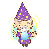 Senior Wizard mascot practice the black art. Work and Job Charac Stock Images