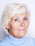 Senior woman. Portrait with blue sweater stock photography