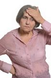 Senior Woman with Aching Head Isolated Royalty Free Stock Photos