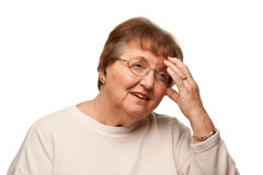 Senior Woman with Aching Head on White Stock Photos