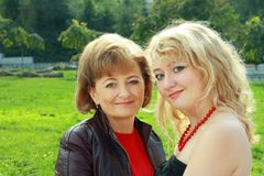 Senior Woman And Adult Daughter Stock Photo