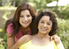 Senior Woman With Adult Daughter In Garden stock photography