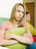 Senior woman and adult daughter having conflict Royalty Free Stock Photos