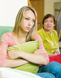 Senior woman and adult daughter having conflict Royalty Free Stock Photo