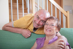 Senior woman with adult son. Stock Image