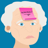 Senior woman with Alzheimer sticky note Stock Photography