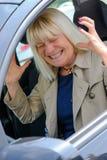 Senior woman angry At the Wheel Stock Photos