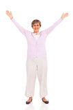 Senior woman arms up Royalty Free Stock Photo