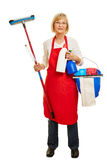 Senior woman as cleaning lady. With detergent and bucket Stock Images