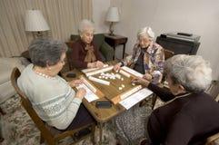 Senior Woman At The Game Table Royalty Free Stock Photos