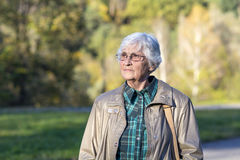Senior woman in the autumn park. Beautiful senior woman with white hair in the autumn park Royalty Free Stock Photo
