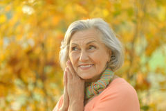 Senior woman in  autumn park Royalty Free Stock Image