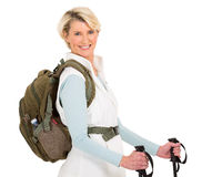 Senior woman backpack Stock Images