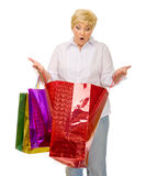 Senior woman with bags Royalty Free Stock Photos