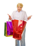 Senior woman with bags Stock Photography