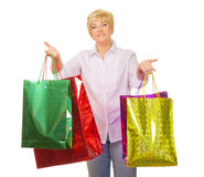 Senior woman with bags Stock Images