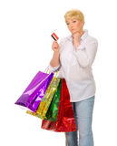 Senior woman with bags and credit card Royalty Free Stock Photography