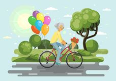 Senior woman with balloons royalty free illustration