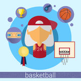 Senior Woman Basketball Player Icon Stock Photography