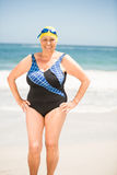 Senior woman with bathing cap at the beach Royalty Free Stock Images