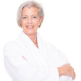 Senior woman with bathrobe Stock Images