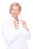 Senior woman with bathrobe Stock Image