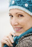 A senior woman on a beach stock images