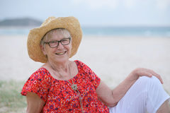 Senior woman at the beach Stock Photography