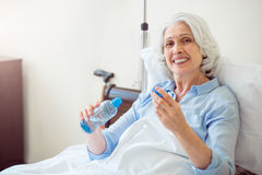 Senior woman being at hospital Royalty Free Stock Photo