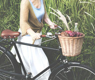 Senior Woman Bicycling Windy Park Concept Royalty Free Stock Image