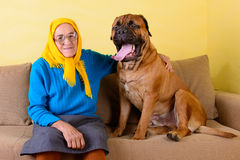 Senior woman with big dog Stock Photo