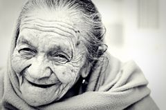 Senior woman in black and white Stock Photography