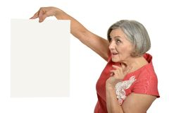Senior woman with  blank Stock Photo