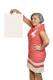 Senior woman with  blank Royalty Free Stock Photography