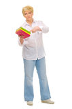 Senior woman with books. Isolated Royalty Free Stock Images
