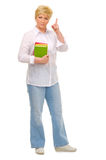 Senior woman with books. Isolated Stock Photos