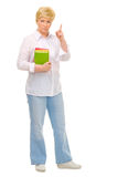 Senior woman with books. Isolated Stock Images