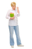 Senior woman with books. Isolated Stock Photography