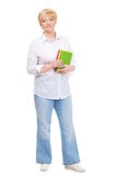 Senior woman with books isolated. Against white background Stock Photo