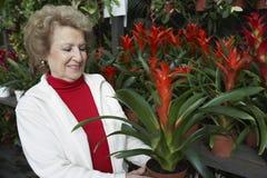 Senior Woman At Botanical Garden Stock Images