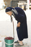 Senior woman and bucket of cherry stock images
