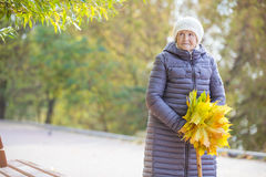 Senior woman with bunch of autumn leaves royalty free stock photography