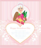 Senior woman with a bunch of flowers , Happy Grandmas Day. Illustration Royalty Free Stock Photography