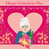 Senior woman with a bunch of flowers ,Happy Grandmas Day. Illustration Stock Images