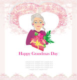 Senior woman with a bunch of flowers ,Happy Grandmas Day. Illustration Stock Photos
